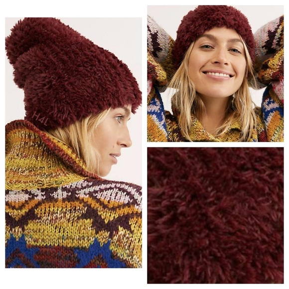 NWT Free People Maroon Red Fuzzy Furry Beanie Hat